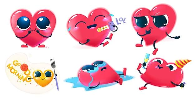 Набор символов красное счастливое сердце. симпатичное лицо с большими глазами, руками и ногами. иллюстрации шаржа для детей.