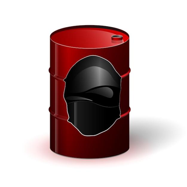 내부에 기름 또는 기타 검은 액체가 들어 있는 빨간색 금속 배럴. 측벽의 절단 또는 구멍. 안에 무엇이 있는지 볼 수 있습니다.