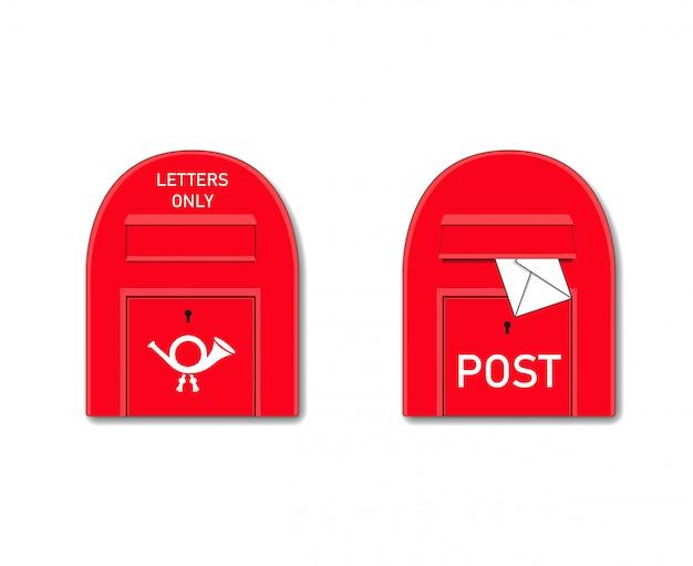 手紙のある赤いポストボックス。メールまたはレターボックス。孤立したグラフィックイラスト。