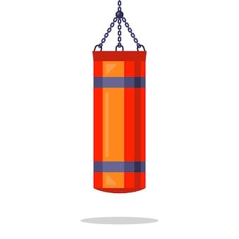 チェーンから吊るされた赤いサンドバッグ。分離された平らなイラスト