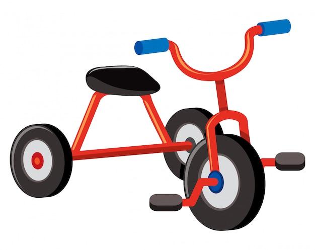 Красный трицикл на белом фоне