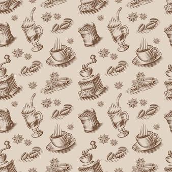 彫刻スタイルのコーヒーテーマのレトロなシームレスな背景。このデザインは、パッケージングやレストランやキッチンの壁紙として使用できます
