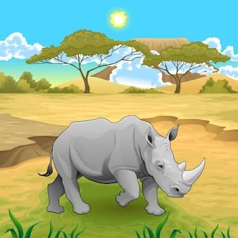 Африканский пейзаж с носорогом векторная иллюстрация