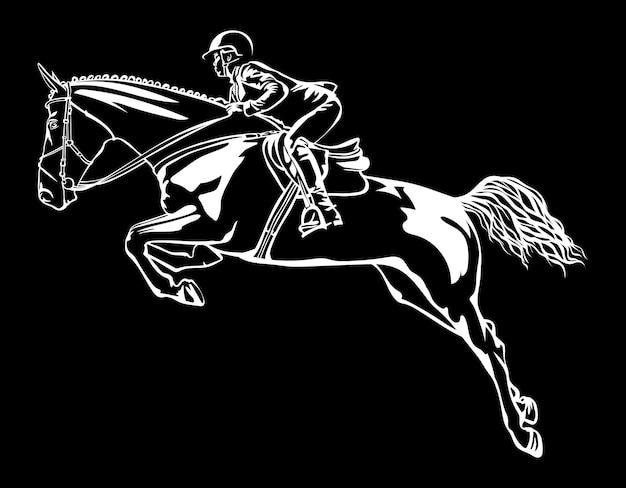 Всадник на лошади преодолевает препятствие, нарисованное белым на черном фоне, конкурирующий мир c ...