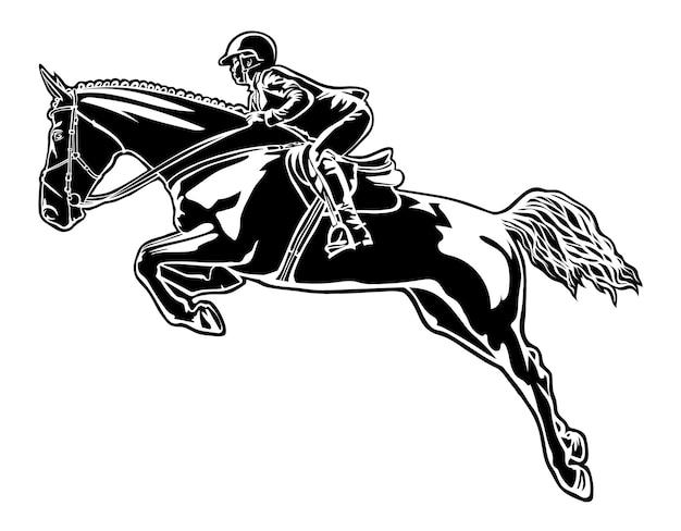 Всадник на лошади преодолевает препятствие, изображенное на белом фоне конкурирующих миров ...