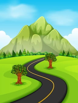 A road going to the mountain