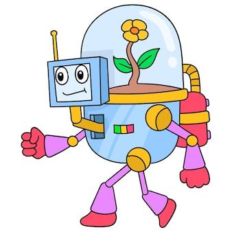 Робот с естественной энергией, содержащий растение подсолнечника, векторные иллюстрации. каракули изображение значка каваи.