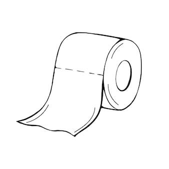 Рулон туалетной бумаги в стиле дудл