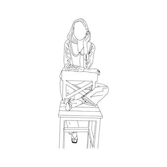 直線的なスタイルで描かれた椅子に寄りかかってロマンチックな女の子。ベクトルイラスト。