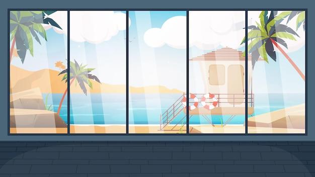海を見下ろす大きなパノラマの窓のある部屋