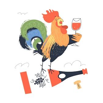 와인 한 잔을 들고 있는 수탉이 와인 한 병 위에 서 있습니다. 평면 스타일에 흰색 배경에 벡터 일러스트 레이 션.