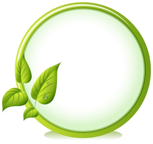 四つの緑の葉がある丸い縁