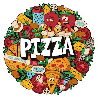 Круглый рисунок каракули на тему пиццерии