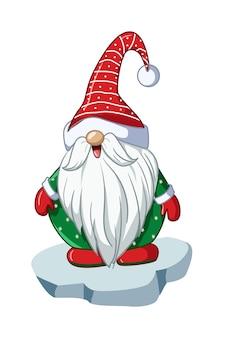 Санта-карлик в зеленой рубашке и новогодней шапке