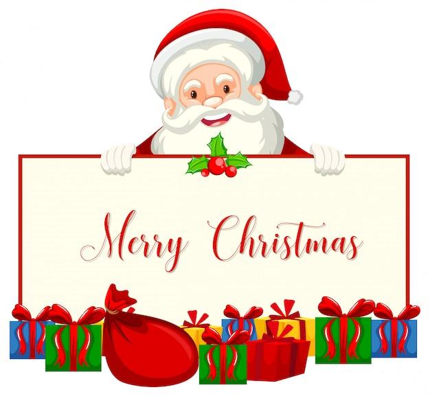 Санта держит рождественский баннер
