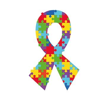 Атласный информационный бюллетень с ярким рисунком-головоломкой, символизирующим поддержку людей с аутизмом и синдромом аспергера. психологическая терапия и логотип аутичных добровольцев
