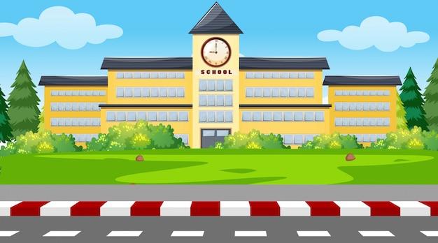 학교 건물 배경