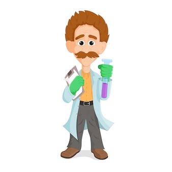 テストチューブを保持している白衣を着ている科学者の教授