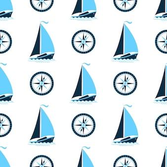 배와 나침반이 있는 바다 패턴. 해양 스타일에 완벽 한 배경입니다.