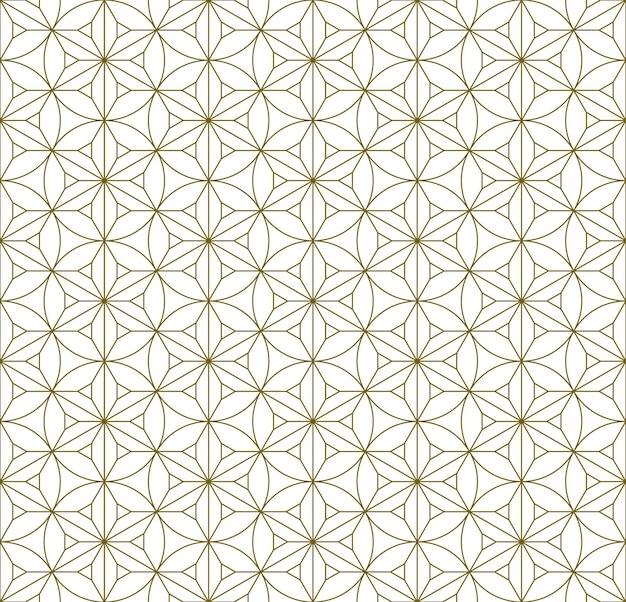 日本の伝統工芸品「久美子ザイク」の要素をベースにしたシームレスなパターン。茶色の細い線。