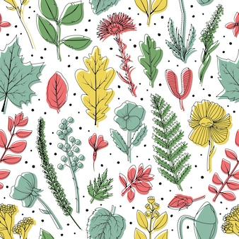植物標本室の乾燥した葉と花のシームレスなパターン。