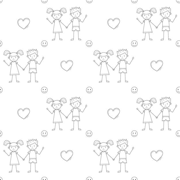 유치한 스타일, 마음, 웃는 얼굴로 그려진 귀여운 아이들과 함께 매끄러운 학교 패턴입니다. 검정, 흰색