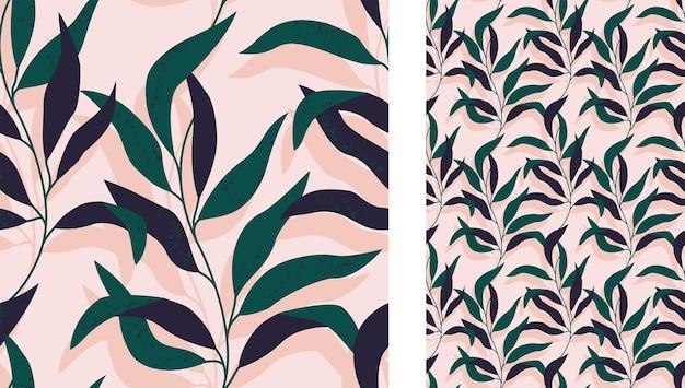 Бесшовный тропический абстрактный узор с ветвью листьев на светло-розовом фоне Premium векторы