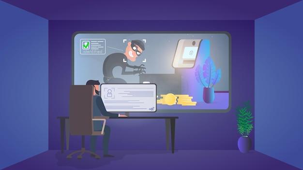 Охранник наблюдает за грабителем в комнате охраны. идентификация вора. вор крадет банковскую карту возле банкомата. концепция безопасности. вектор.