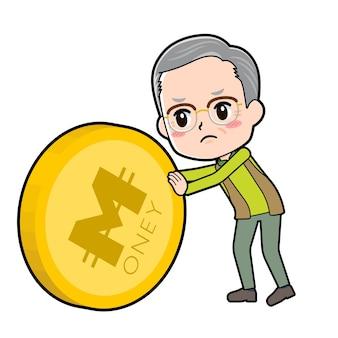 Старший мужчина с жестом контроля монет.