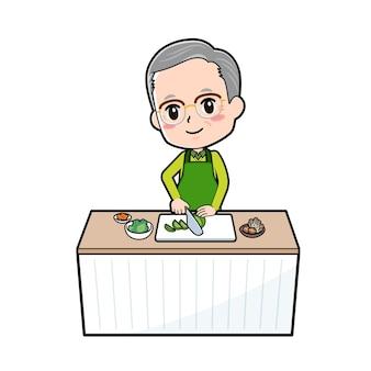 食材を切るのジェスチャーで年配の男性。