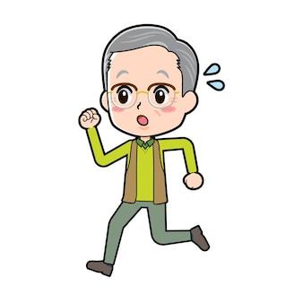 実行のジェスチャーを持つシニア男性。漫画のキャラクター。