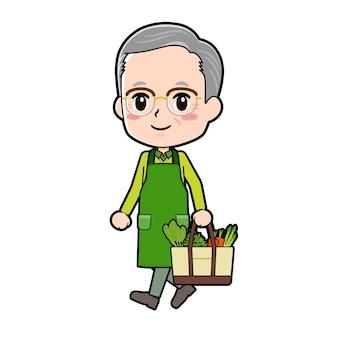 ショッピングのジェスチャーで年配の男性。