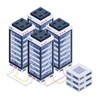 Значок серверной комнаты в изометрическом дизайне премиум скачать