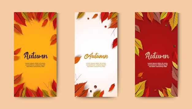 美しい葉とセットの秋のバナー