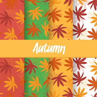 A set background of autumn fall leaf seamless pattern