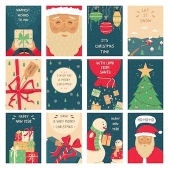 Набор из 12 рождественских открыток. новогодние иллюстрации.