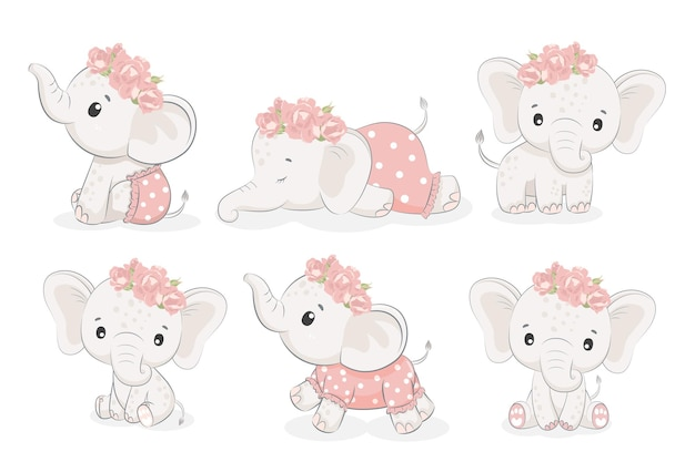 Набор из 6 милых девчонок-слоников. векторная иллюстрация мультфильма.