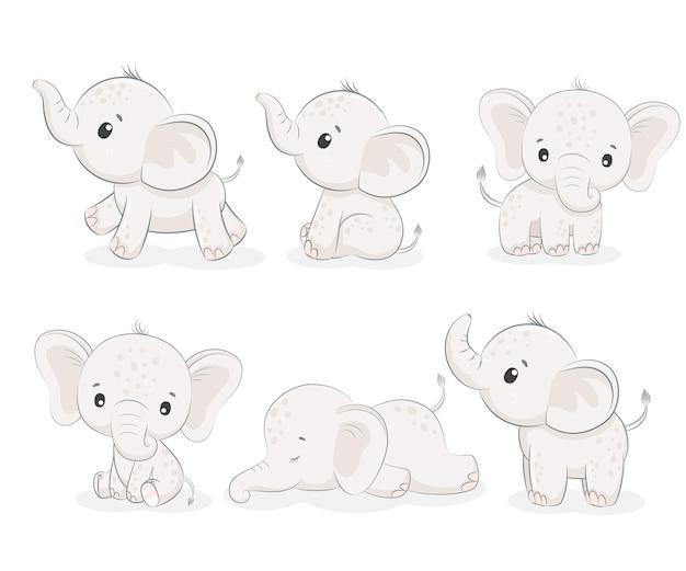 Набор из 6 милых слоников. векторная иллюстрация мультфильма.
