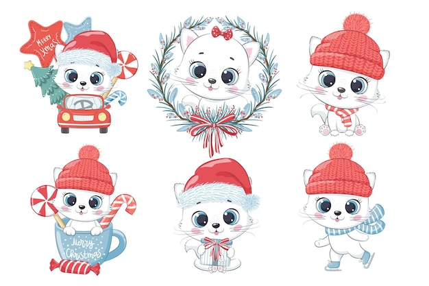 새해와 크리스마스를 위한 6마리의 귀여운 고양이 세트. 만화의 벡터 일러스트 레이 션. 메리 크리스마스.