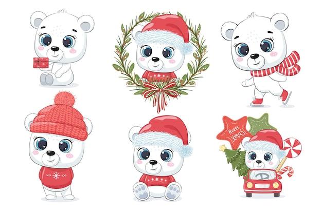 새해와 크리스마스를 위한 귀여운 북극곰 6종 세트입니다. 만화의 벡터 일러스트 레이 션. 메리 크리스마스.