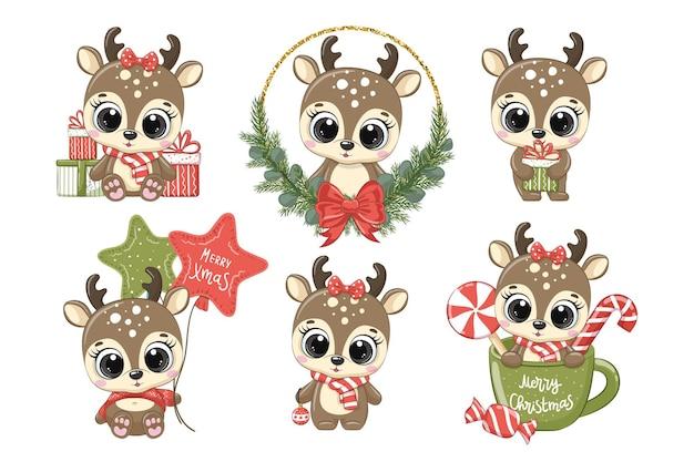 새해와 크리스마스를 위한 귀여운 순록 6종 세트. 만화의 벡터 일러스트 레이 션. 메리 크리스마스.