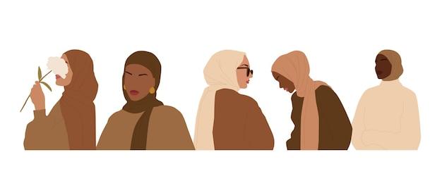 히잡을 쓴 국제 여성의 추상 초상화 세트. 이슬람 얼굴 없는 여성. 흰색 배경에 고립 된 미니 멀 벡터 일러스트 레이 션,