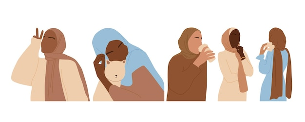 히잡을 쓴 다민족 여성의 추상 초상화 세트. 이슬람 얼굴 없는 여성. 흰색 배경에 고립 된 미니 멀 벡터 일러스트 레이 션.