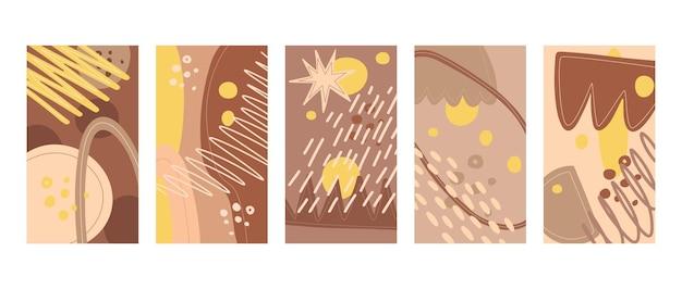 추상 스칸디나비아 스타일의 배경 세트입니다. 인스타그램 스토리, 엽서, 포스터 디자인.