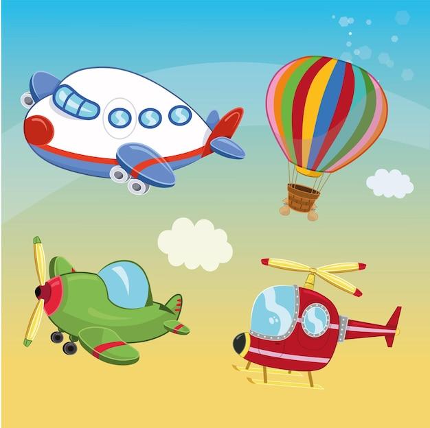 Набор иллюстраций транспортных средств воздушного транспорта векторные иллюстрации