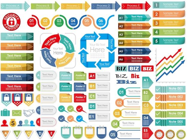 Набор разнообразных информационных-графических и индексных карт для бизнеса