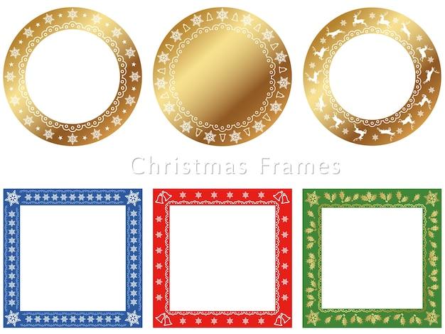 クリスマスシーズンのための様々なフレームのセット