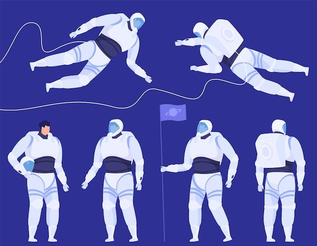 さまざまなポーズの宇宙飛行士のセット