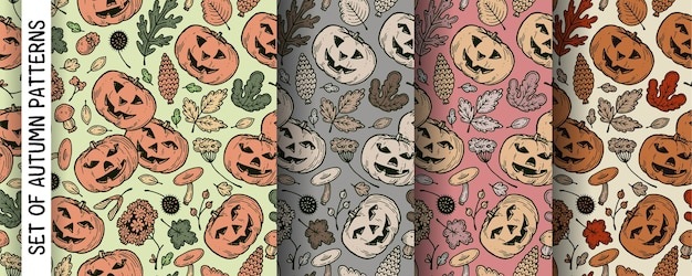 ハロウィーンのカボチャと秋のパターンのセット。