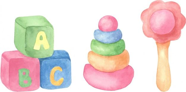 赤ちゃんのおもちゃ、白い背景の上の孤立したオブジェクトのセット。水彩の手描きイラスト。